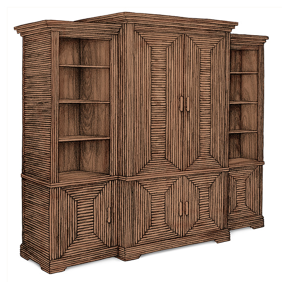 Rustic Armoire #2033 shown in Natural Finish (on Bark)