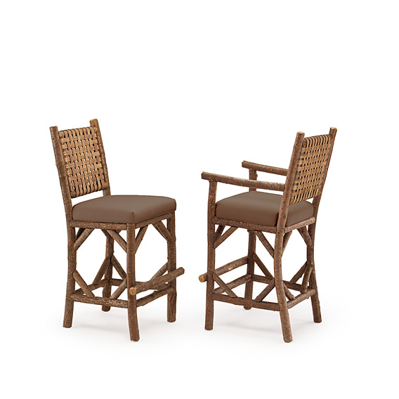 Rustic Bar Stool #1646 & Bar Stool w/Arms #1647 w/Woven Reed Back (Shown in Natural Finish)