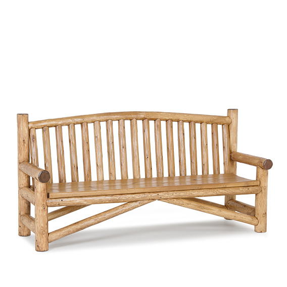 Rustic Bench #1510 shown in Pecan Premium Finish (on Peeled Bark)