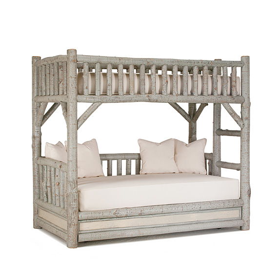 Rustic Bunk Bed with Trundle (Ladder Right) #4259R shown in Pewter Premium Finish (on Bark)