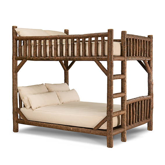Rustic Bunk Bed Queen/Queen (Ladder Left) #4526L (shown in Natural Finish)