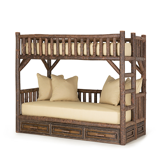 Rustic Bunk Bed with Drawers (Ladder Right) #4626R (Shown in Natural Finish with Optional XL-Twin/XL-Twin Mattresses)