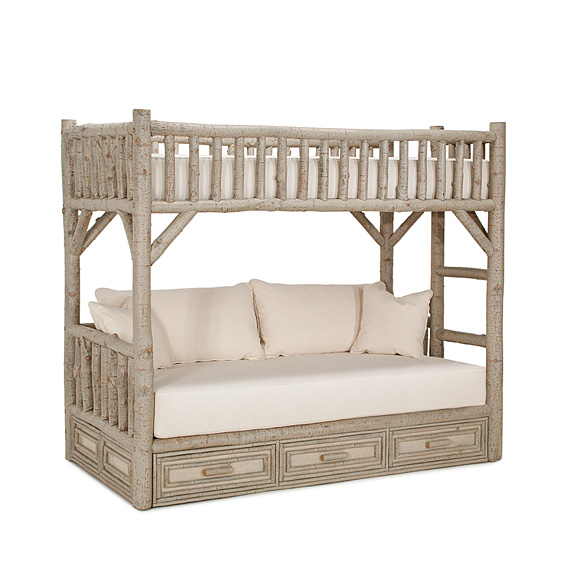 Rustic Bunk Bed with Drawers Twin/Twin (Ladder Right) #4626R (shown in Taupe Finish on Bark)