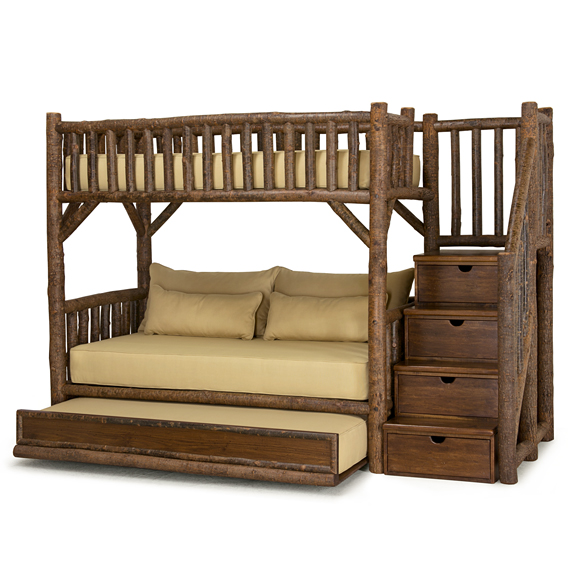Rustic Bunk Bed w/Trundle & Stairs #4690R (3 Twins & Stairs Right) shown in Natural Finish (on Bark)