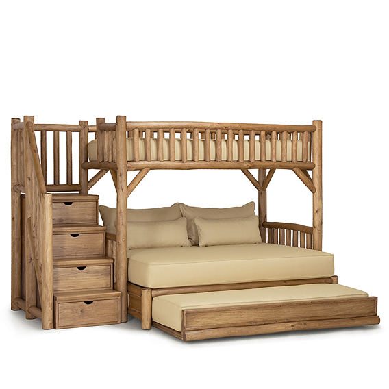 Rustic Bunk Bed w/Trundle & Stairs #4696L (XL-Twin/Queen/Twin & Stairs Left) Shown in Pecan Finish