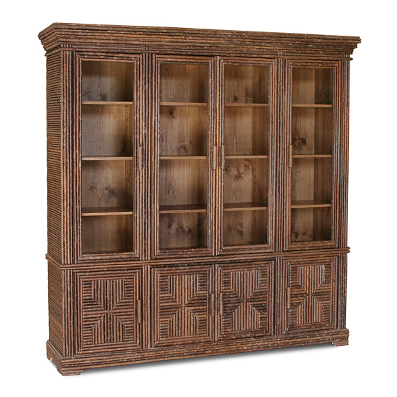 Rustic Cabinet with Glass Doors #2030 shown in Natural Finish (on Bark)