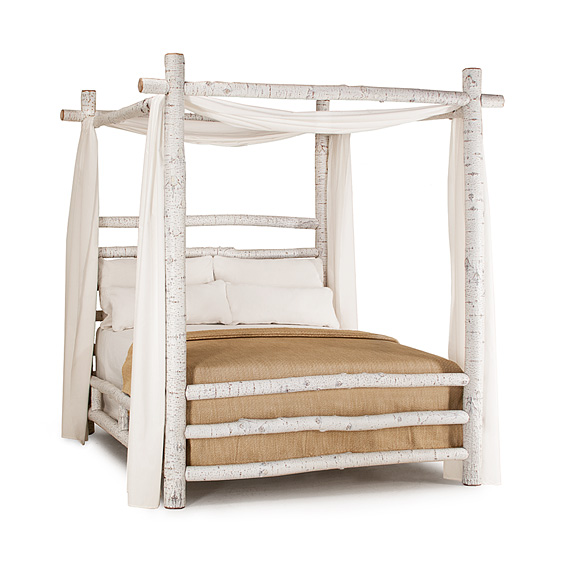 Rustic Canopy Bed Queen #4090 (Shown in Antique White Finish)