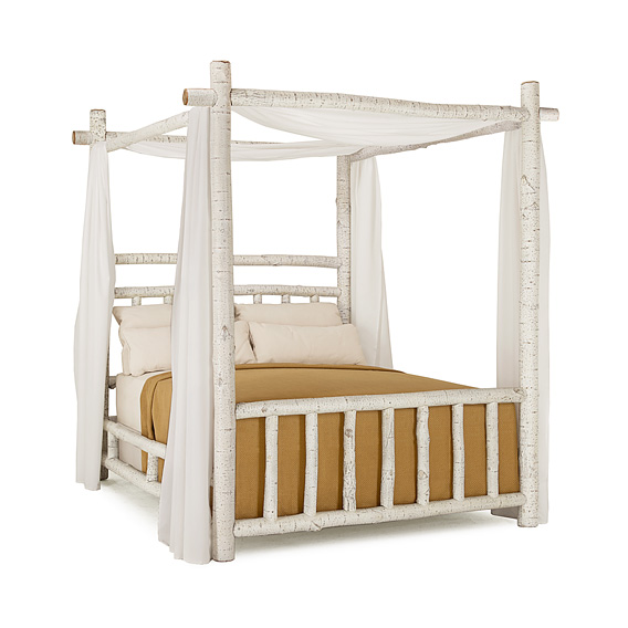 Rustic Canopy Bed Queen #4534 (Shown in Antique White Finish)