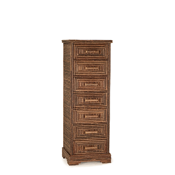 Rustic Seven Drawer Chest #2099 shown in Natural Finish (on Bark)