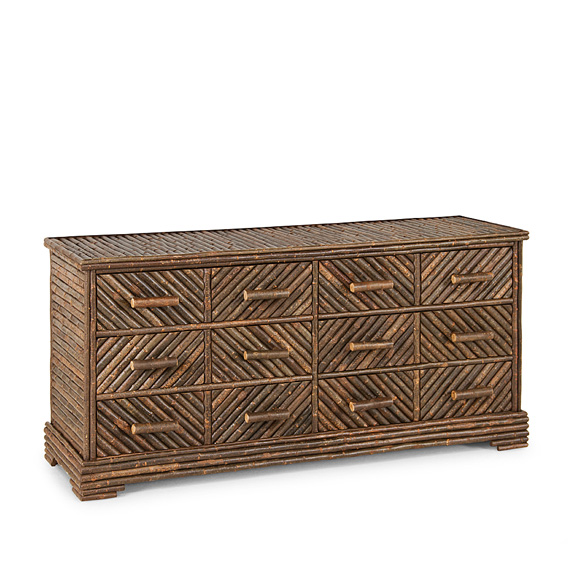 Rustic Six Drawer Dresser #2134 shown in Natural Finish (on Bark)