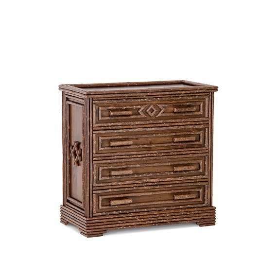 Rustic Four Drawer Chest #2138 shown in Natural Finish (on Bark)