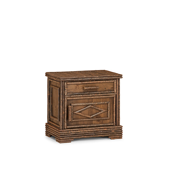 Rustic Nightstand #2155R (Hinged on Right Side) Shown in Natural Finish