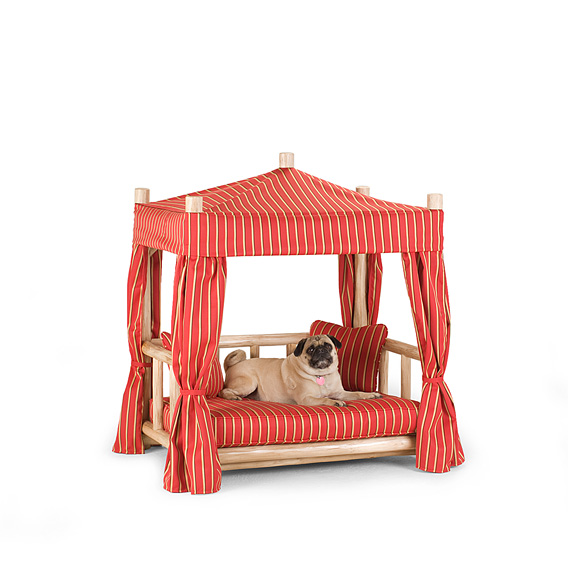 Rustic Dog Cabana Bed #5120 shown in Wheat Premium Finish (on Peeled Bark)