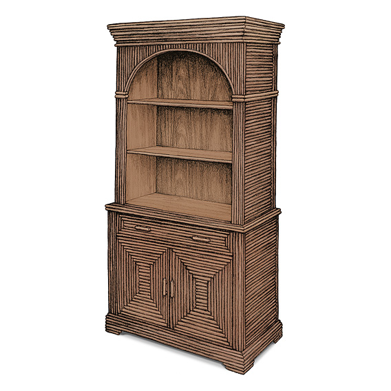 Rustic Hutch #2037 shown in Natural Finish (on Bark)