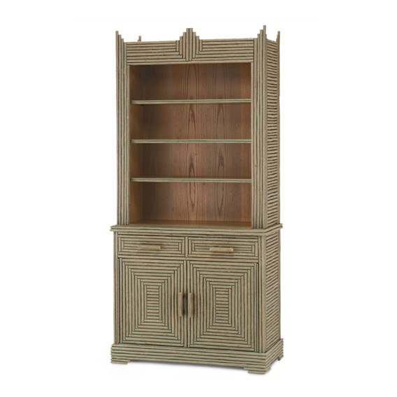 Rustic Hutch #2056 shown in a Custom Finish - Medium Oak with Willow in Sage Premium Finish (on Bark)