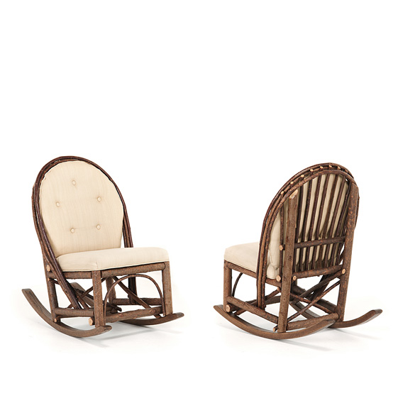Rustic Rocking Chair with Tie-On Back Pad #1075 shown in Natural Finish (on Bark)
