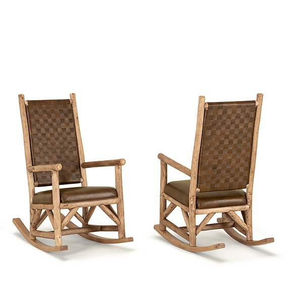 Rustic Rocking Chair with Woven Leather Back #1188 (Shown in Pecan Finish)