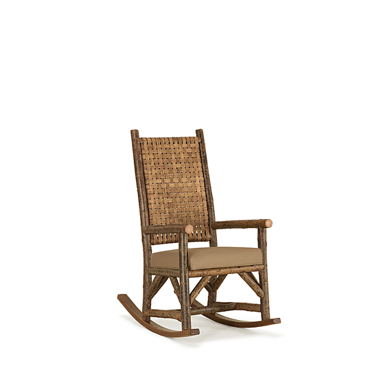 Rustic Rocking Chair with Woven Reed Back #1642 (Shown in Natural Finish)
