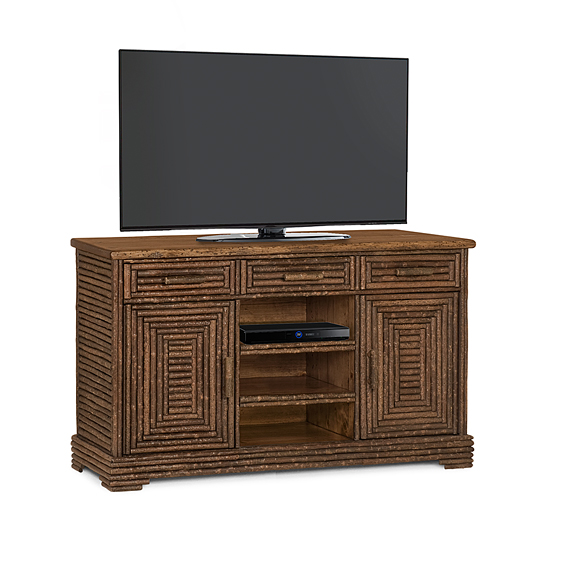 Rustic TV Cabinet #2588 (Shown in Natural Finish with Medium Pine Top)