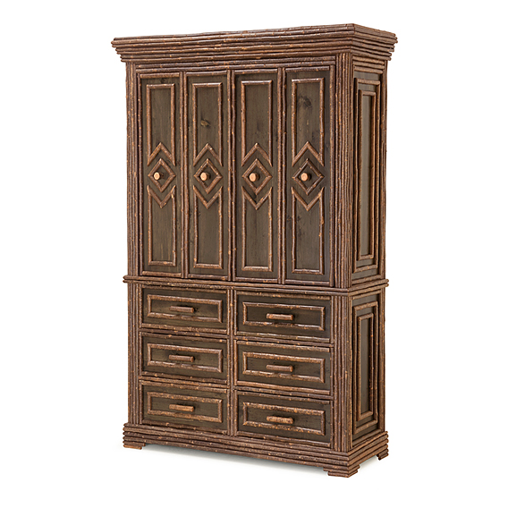 Rustic TV Cabinet #2616 (Shown in a Custom Color - Dark Pine with willow in Natural Finish)