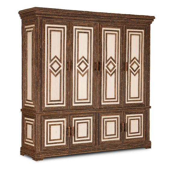 Rustic TV Cabinet #2632 (Shown in a Custom Finish - Whitewash Oak with Willow in Natural Finish)