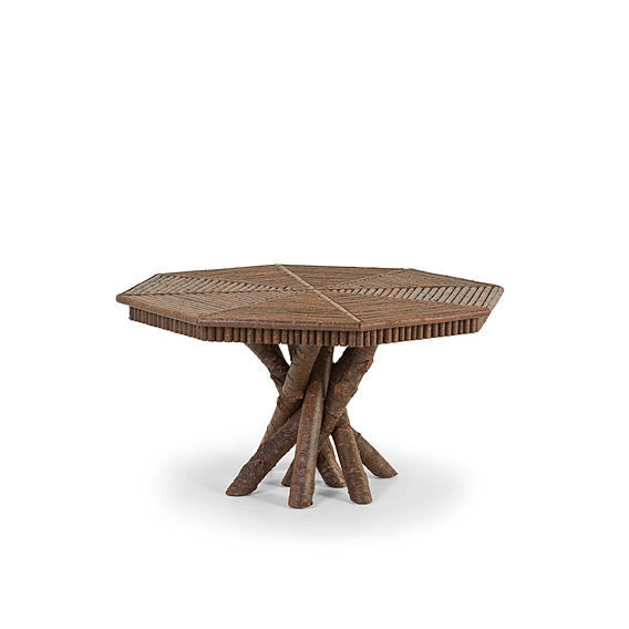 Rustic Table with Willow Top #3106 shown in Natural Finish (on Bark)