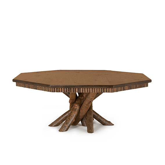 Rustic Dining Table with Octagonal Pine Top #3112 shown in Natural Finish (on Bark) & Medium Pine Top