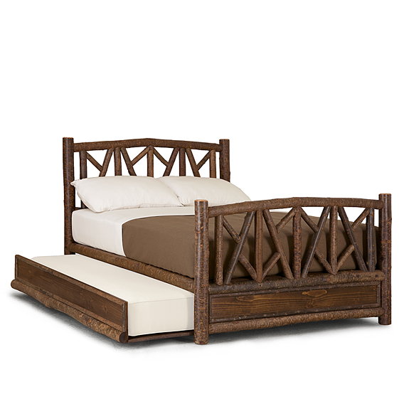 Rustic Trundle Bed Queen/Twin (Opens Left) #4514L (Shown in Natural Finish)