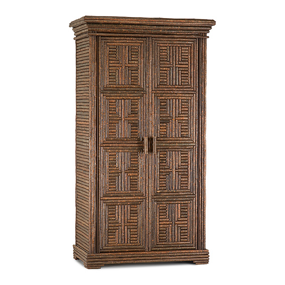 Rustic Armoire with Willow Doors #2006 shown in Natural Finish (on Bark)