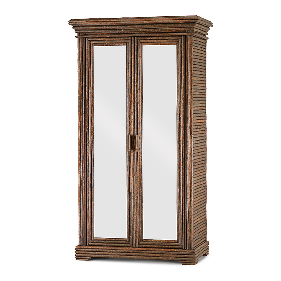 Rustic Armoire with Mirrored Doors #2008 (Shown in Natural Finish)