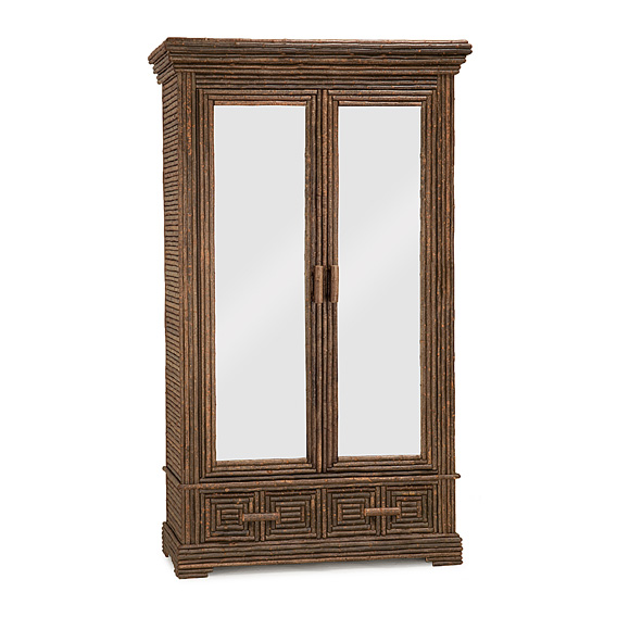 Rustic Armoire with Mirrored Doors #2020 (Shown in Natural Finish)