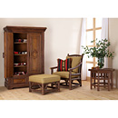 Armoire #2023 shown w/Club Chair #1174, Ottoman #1173 & Table #3438 - Items shown in Natural Finish (on Bark) La Lune Collection