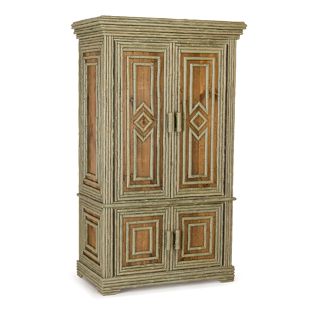High Quality Rustic Armoire #2024 Shown In Custom Finish   Medium Pine With Willow In  Sage Premium