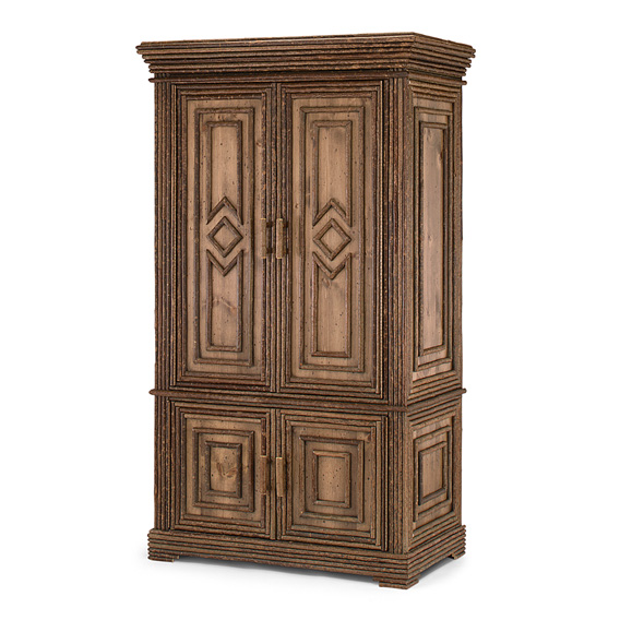 Rustic Armoire #2024 shown in Natural Finish (on Bark)