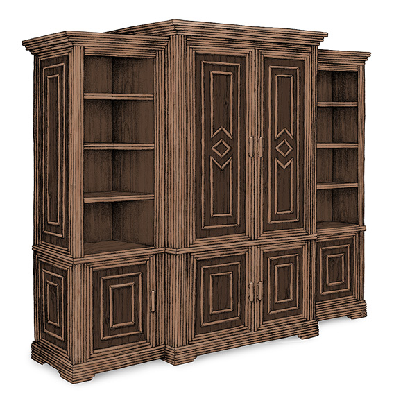 Rustic Armoire #2025 shown in a Custom Finish - Dark Pine with Willow in Natural Finish (on Bark)