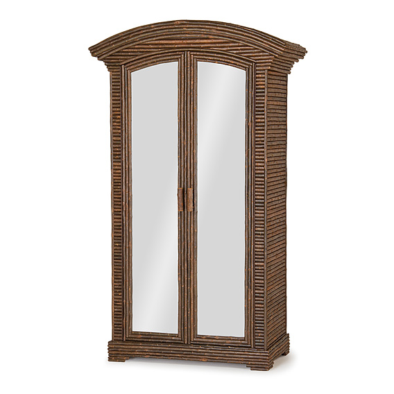 Rustic Armoire with Mirrored Doors #2090 (Shown in Natural Finish on Bark)