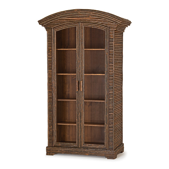 Rustic Armoire with Glass Doors #2092 (Shown in Natural Finish)
