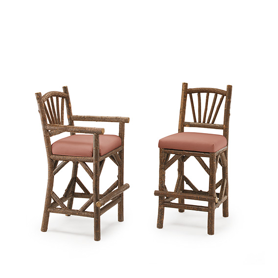 Barstool with Arms #1124 & Barstool #1122 shown in Natural Finish (on Bark)