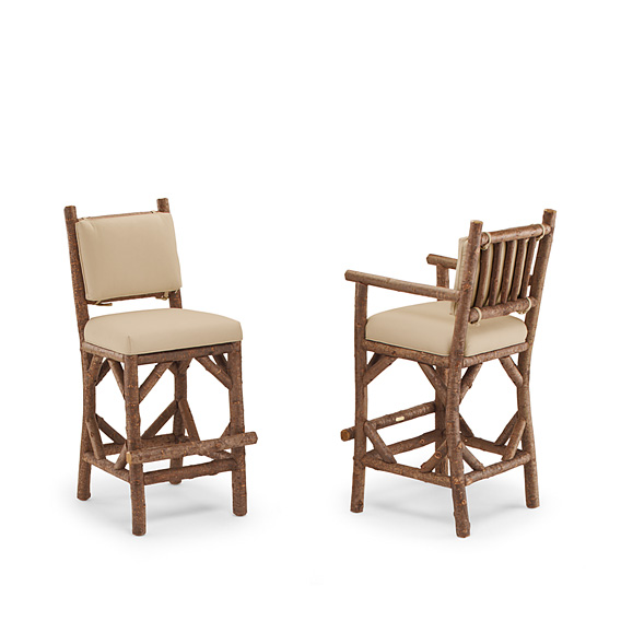Rustic Barstool #1139 & Barstool with Arms #1141 (shown in Natural Finish on Bark)