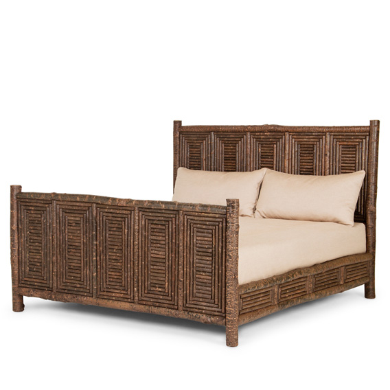 Rustic Bed King #4066 shown in Natural Finish (on Bark)