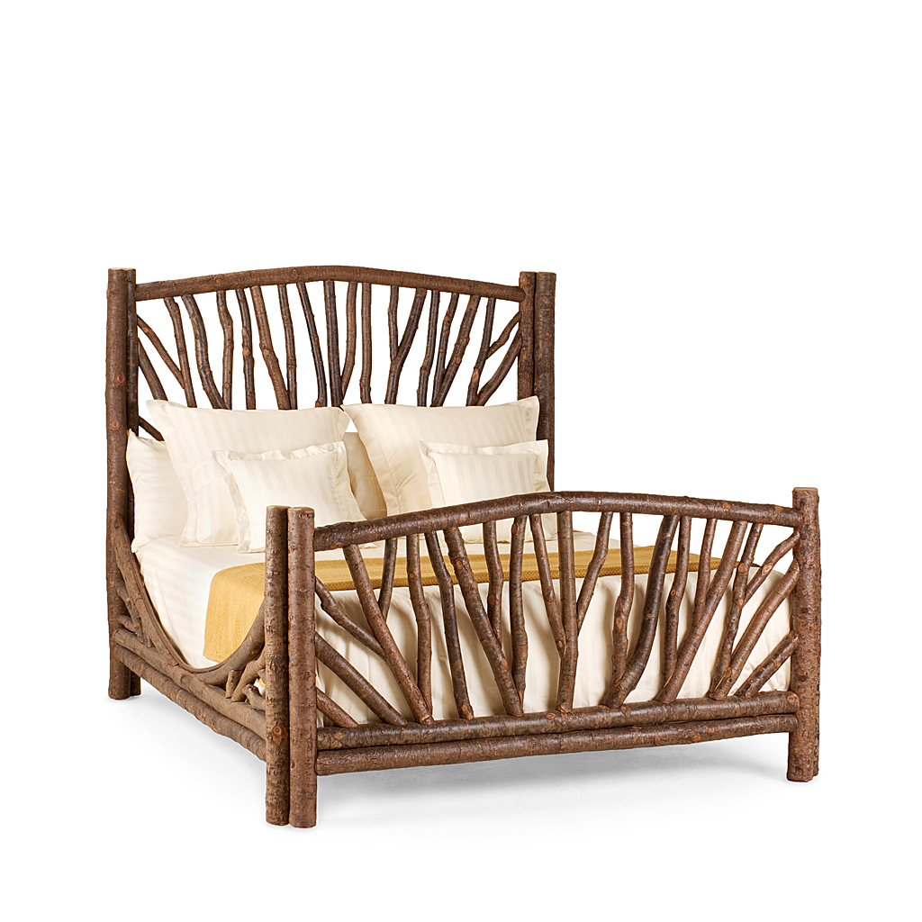 Rustic Bed Queen #4304 shown in Natural Finish (on Bark)