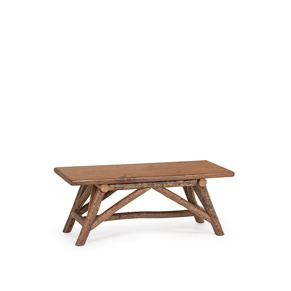 Rustic Bench #1112 shown with Medium Pine Seat and in Natural Finish (on Bark)
