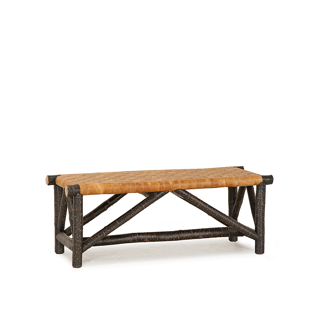 rustic woven leather bench   la lune collection - rustic woven leather bench  shown in ebony premium finish (on bark) la