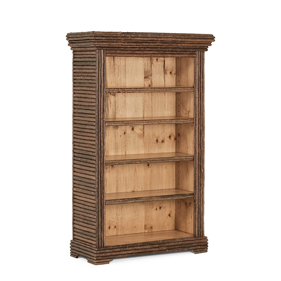 Rustic Four Shelf Bookcase #2080 shown in a Custom Finish - Light Pine with Willow in Natural Finish (on Bark)