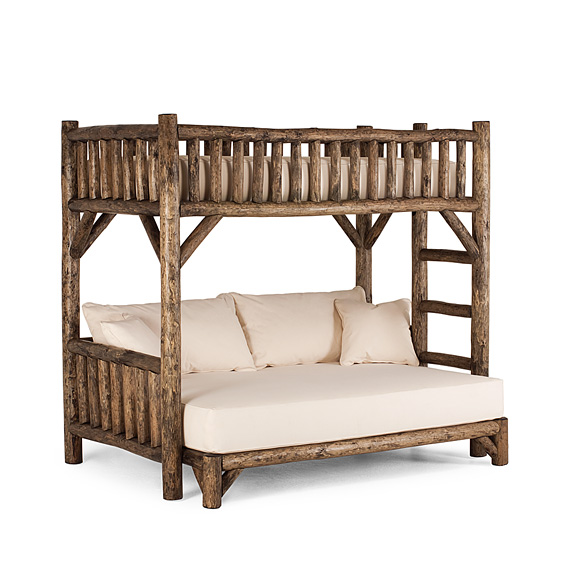 Rustic Bunk Bed Twin/Full (Ladder Right) #4255R (Shown in Kahlua Finish)