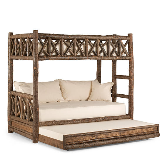 Rustic Bunk Bed with Trundle (Ladder Right) #4256R shown in Natural Finish (on Bark)