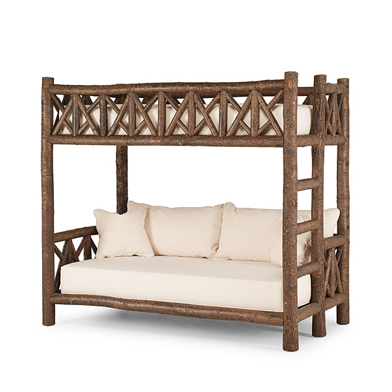 Rustic Bunk Bed (Ladder Right) #4257R (Shown in Natural Finish)