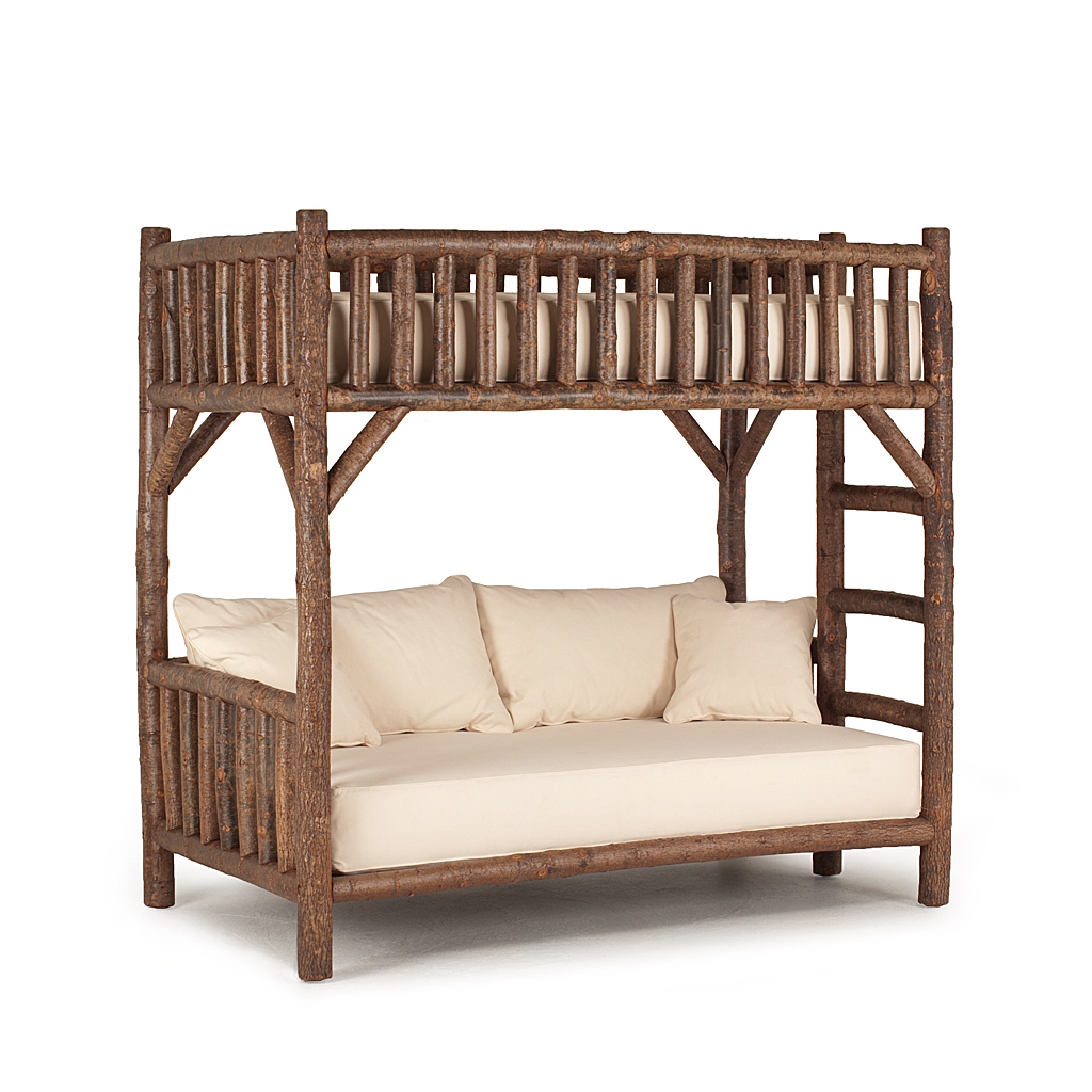 Rustic bunk bed ladder right 4258r shown in natural finish on bark