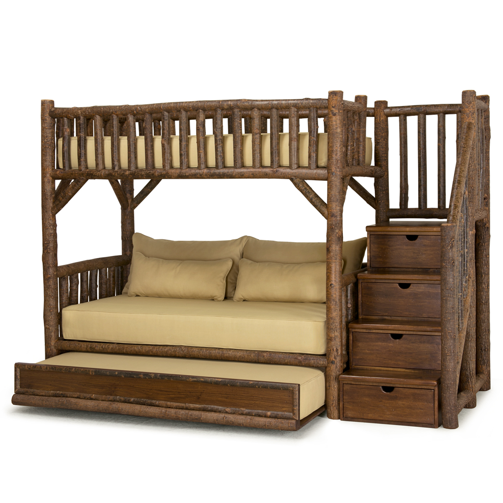 Rustic bunk bed with trundle and stairs la lune collection for Diy rustic bunk beds