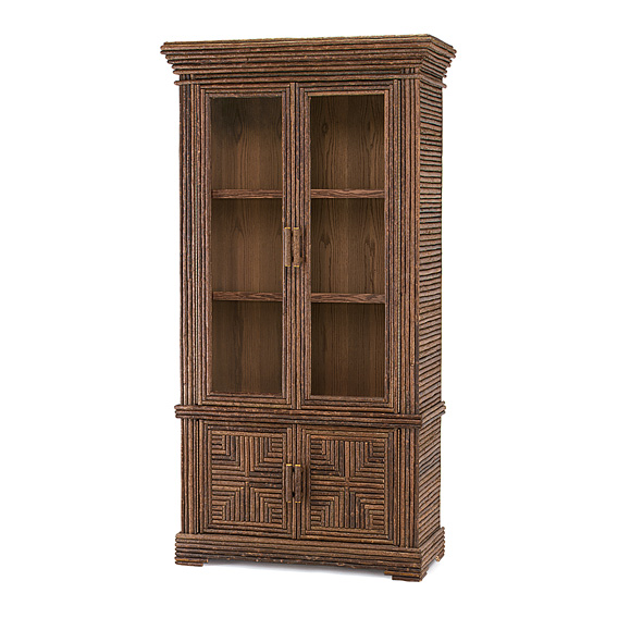 Rustic Cabinet with Glass Doors #2032 shown in Natural Finish (on Bark)